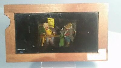 Victorian early Animation cattle show 1st prize Magic lantern slipper slide 1860