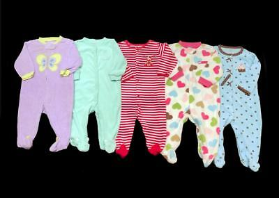 Baby GIRL 6 months Carter's SLEEPER PAJAMA Clothes LOT Includes First Christmas