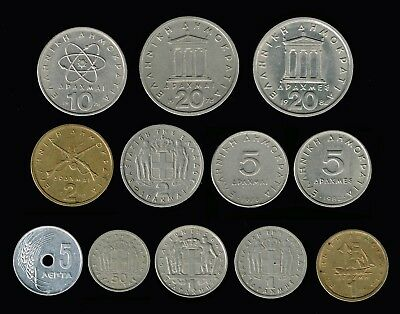 GREECE:- 12 different mid - late  20th century pre Eurozone  coins.AP6355