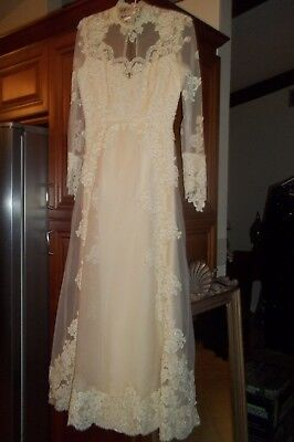 Womens Antique Vintage  Wedding Gown Lace Seed Pearls and Tiny Covered Buttons
