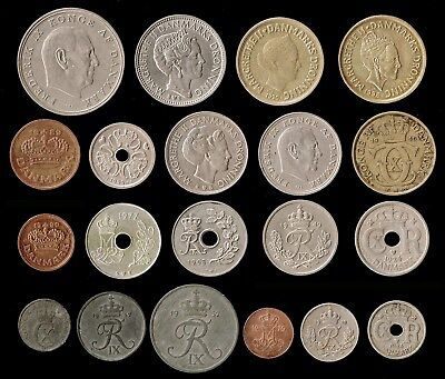 DENMARK:- 20 different early - late  20th century coins. AP6357