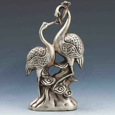 Collectible Chinese Silver Copper Handmade Red-Crowned Crane & Ruyi Statue