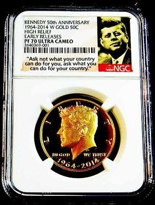 2014-W  GOLD 50th ANNIVERSARY KENNEDY NGC PF 70 UCAM EARLY RELEASE HR**L@@K**
