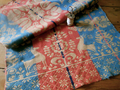 Antique Primitive 19thc Loom Coverlet Pc. ~ Stag Deer ~red blue ~ runner pillows