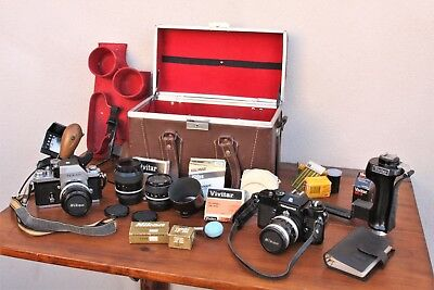 Two Nikon 35mm Film Cameras, Nikon F, Nikkormat, Lenses, Flash Accessories, Case