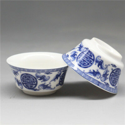 2 Pcs Chinese Blue and white Porcelain painted bat Gongfu Sample Tea cups
