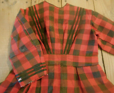 Antique Primitive 19thc Girl Child Red Brown Homespun Plaid Challis Wool Dress