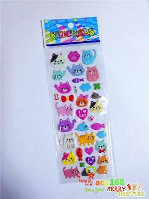 Cat Cartoon Stickers Lot Craft Animal Xmas Sticker 1pc Puffy Kid Party Toys Gift