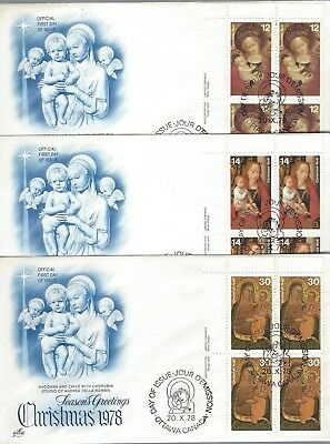 1978 Christmas #541-2 Paintings UL PL BLK set of 3 FDC with Artcraft cachet
