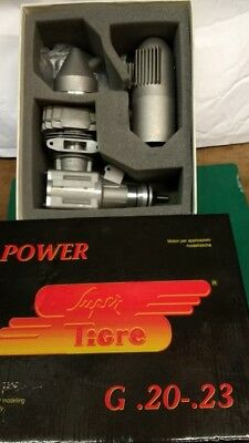 super tigre,20/23 glow engine, New in box.+ Pitts style exhaust by Just Engines.