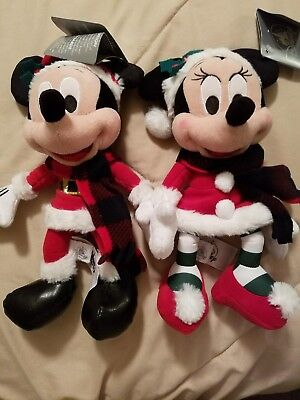 """BRAND NEW 2017 Mickey And Minnie Mouse Christmas Plush - 9"""""""