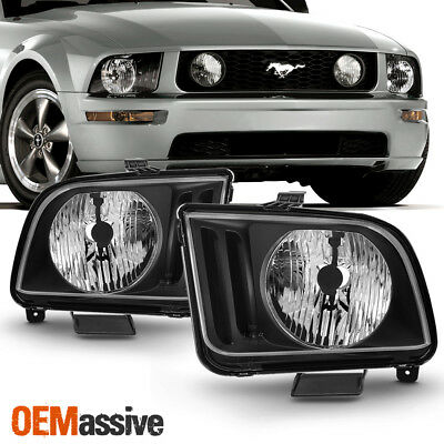 2005 2006 2007 2008 2009 Ford Mustang Black Headlights Pair Lamps Left + Right
