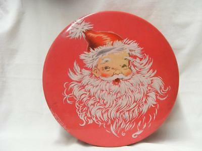 VINTAGE 1940s MRS STEVENS CHICAGO CHRISTMAS CANDY TIN WITH SANTA NICE