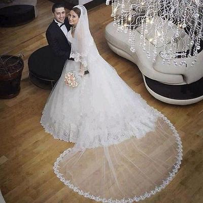 New 2 Layer Lace Edge Chapel or Cathedral Length Wedding Bridal Veil with Comb