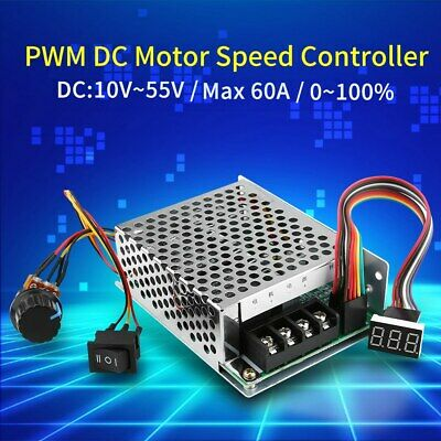 US Ship 10-55V 60A PWM DC Motor Speed Controller CW CCW Reversible Plus Driver