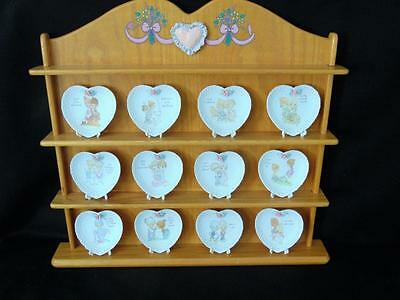 Precious Moments 1996 Porcelain Mini Heart Plate Collection - 12 Plates W/rack