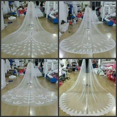 2017 White / Ivory Cathedral Bridal Cape Cloak Lace Long Wedding Dress Accessory