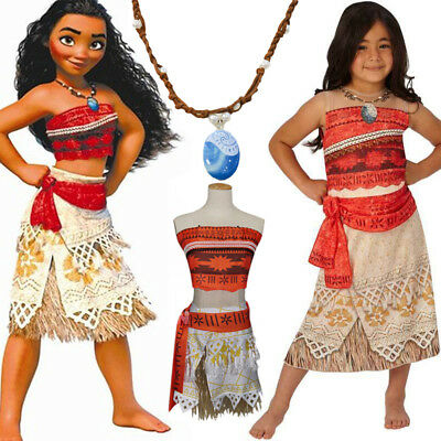 Kids Moana Princess Fancy Costume Cosplay Party Dress Girls Necklace Outfit Set