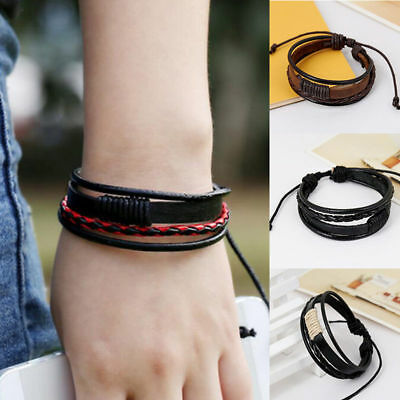 1PC Men New Charm Fashion Bracelet Hand-woven Multilayer Leather Wristband