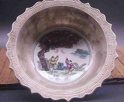 Old Chinese porcelain Colored glaze Carving lucky Children Exquisite Bowl Cup