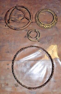 Lot of 4 antique OIL LAMP parts Collar Ring Crown Bracket BRASS