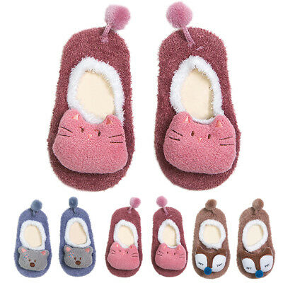 Cute Baby Girl Boy Toddler Anti-slip Socks Grip Slippers Cartoon Animal Shoes