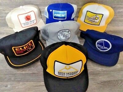 Lot of (26) Vintage Hats Trucker Mesh Snapback All with Patches Brand Names Adv