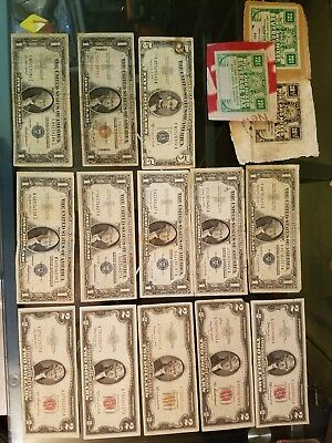 Silver Certificate Red Note Hawaii Note Star Note mixed US currency lot 1,2,5 $