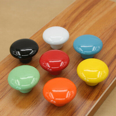 7 Colors Vintage Round Ceramic Knobs Drawer Cupboard Door Porcelain Pull Handle