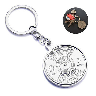 New 50 Years Metal Perpetual Calendar Keyring  Silver Alloy Compass Decoration