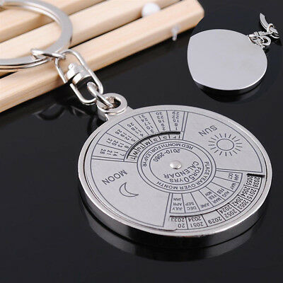 Useful Silver Alloy Compass Decoration 50 Years Metal Perpetual Calendar Keyring