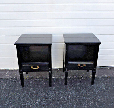 Pair of French Painted Black Nightstands Side End Tables 7822