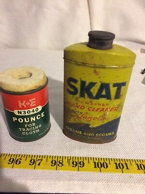 Vintage Lot of 2 Collectible tins Skat Hand Soap and Drafting Pounce!!