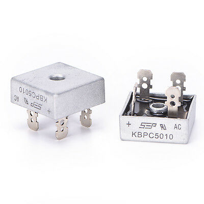 2PCS  KBPC5010 50A 1000V Metal Case Single Phases Diode Bridge Rectifier  F&F