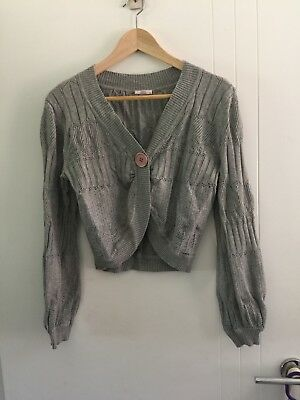 Grey Cotton Knit Maternity Shrug Cardigan