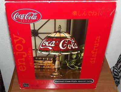 """New 2000 Alsy 15.5"""" Coca-Cola Stained Glass Style Tiffany Accent Lamp"""