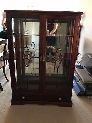 Antique Reproduction Walnut Crystal China Cabinet
