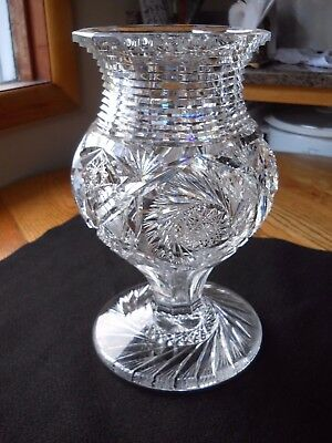 """Rare Abp Quaker City """"whirlwind Pattern"""" Cut Glass Tall Footed Vase"""