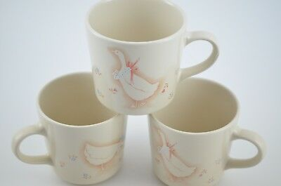 Corning Corelle Mugs Cups Set of 3 Promenade Vintage Country Geese Ceramic