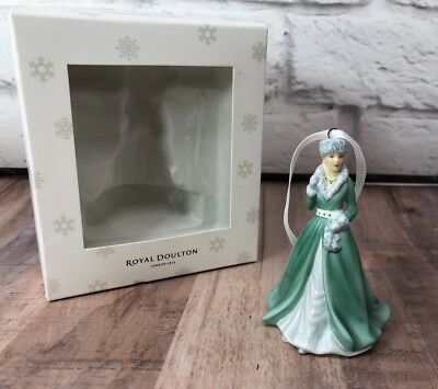 Royal Doulton Silver Bells Porcelain Christmas Ornament Green Dress NEW in Box