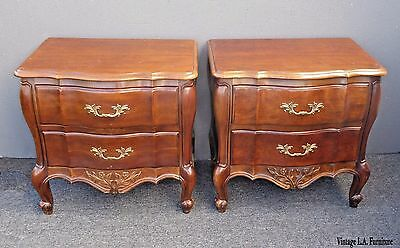 Pair of Vintage Bombay Style Wood Two Drawer Nightstands by White Furniture Co.