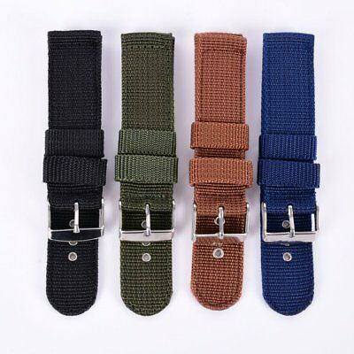 Vintage 4 Color Nylon Canvas Military Army Band Strap Fabric Wrist Watch 18-24mm