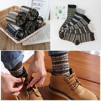 Hot Fashion Men Winter Thick Warm Stripe Wool Casual Promotional Cashmere Socks