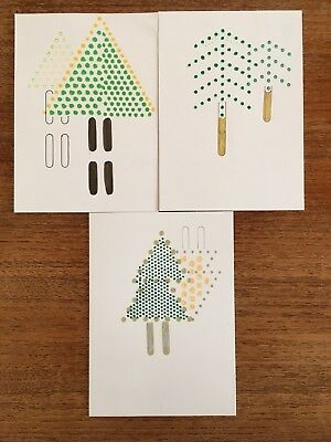 Pack of 3, Christmas Tree Cards, Handmade