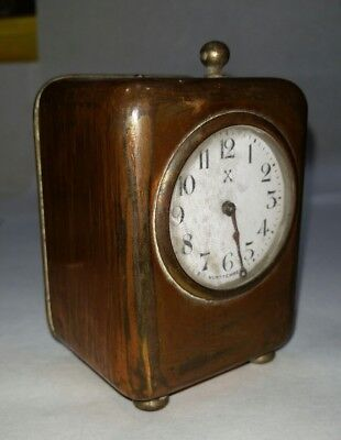Rare Antique German Alarm Clock Made in Wurttemberg - Copper Finish - Box Shaped