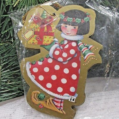 Mary Engelbreit Christmas Ornaments Pkg of 3 Chipboard  Elf with Presents  1998