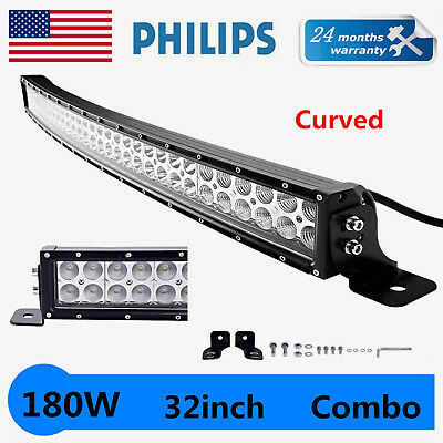 32inch 180W LED Curved Light Bar Offroad Fog Driving Combo Truck ATV Philips 30