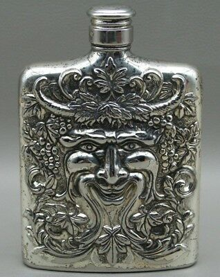 Silver Plated Flask Godinger Bacchus Face Repousse God of Wine Liquor 1983 - BAR