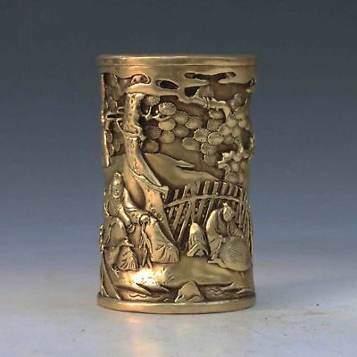 Chinese Antique Handwork Carved Old man& Pine tree Brass Brush Pot