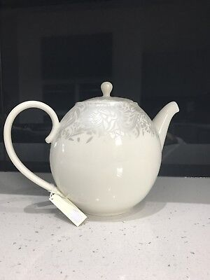 BRAND New Denby Monsoon Lucille Teapot In White With Silver Detail ...